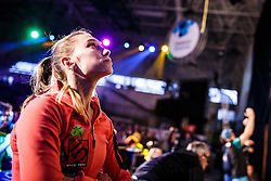 Janja Garnbret (SLO) during final day of competition of IFSC Climbing World Cup Kranj 2016, on November 27, 2016 in Arena Zlato Polje, Kranj, Slovenia. (Photo By Grega Valancic / Sportida.com)