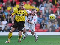 Photo: Leigh Quinnell.<br /> Watford v Hull City. Coca Cola Championship. 20/10/2007. Hulls Stephen McPhee battles with Watfords  Jay DeMerit.