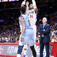 02 October 2015: Los Angeles Clippers forward Paul Pierce (34) takes a jump shot over Denver Nuggets guard Emmanuel Mudiay (0) during the Los Angeles Clippers 103-96 victory over the Denver Nuggets, in a preseason game, at the Staples Center, Los Angeles, California, USA.