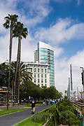 People Walking Down Martin Luther King Promenade By Hilton Hotel In The Gaslamp Quarter San Diego