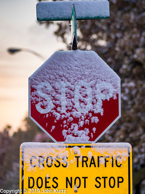 29 OCTOBER 2019 - DES MOINES, IOWA: Snow on a stop sign near the Iowa State Capitol. An unseasonably early dusting of snow, less than 1 inch, blanketed the Des Moines area Tuesday morning. The snow did not accumulate on roads or sidewalks and did not impact the morning commute. Des Moines normally gets its first accumulation of snow in mid-November. More snow is expected later this week.              PHOTO BY JACK KURTZ