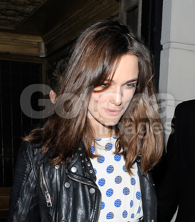 Keira Knightley attends Harvey Weinstein's pre-BAFTA dinner at Little House restaurant in London, UK. 14/02/2014<br />