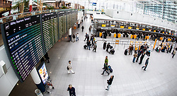 THEMENBILD - Airport Muenchen, Franz Josef Strauß (IATA: MUC, ICAO: EDDM), Der Flughafen Muenchen zählt zu den groessten Drehkreuzen Europas, rund 100 Fluggesellschaften verbinden ihn mit 230 Zielen in 70 Laendern, im Bild Innenansicht Terminal 2, Check-in Schalter mit Passagiere // THEME IMAGE, FEATURE - Airport Munich, Franz Josef Strauss (IATA: MUC, ICAO: EDDM), The airport Munich is one of the largest hubs in Europe, approximately 100 airlines connect it to 230 destinations in 70 countries. picture shows: Interior view of Terminal 2 check-in and passengers, Munich, Germany on 2012/05/06. EXPA Pictures © 2012, PhotoCredit: EXPA/ Juergen Feichter