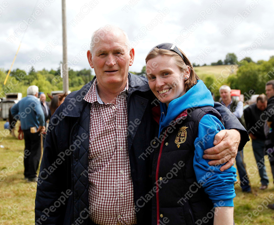 24/6/13 Family day out. Father and Daughter Patrick and Lucy O Neill enjoy the Spancilhill Horse Fair. Pic Tony Grehan / Press 22
