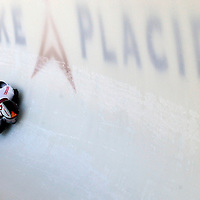 28 February 2007:  Martins Dukurs of Latvia in turn 18 the 3rd run at the Men's Skeleton World Championships competition on February 28 at the Olympic Sports Complex in Lake Placid, NY.