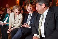 09 JUN 2015, BERLIN/GERMANY:<br /> Angela Merkel (L), CDU, Bundeskanzlerin, Reiner Hoffmann (M), Vorsitzender Deutscher Gewerkschaftsbund, DGB, und Sigmar Gabriel (R), SPD, Bundeswirtschaftsminister, im Gespraech, vor Beginn einer Veranstaltung der DGB anlaesslich des 60. Geburtstages von Reiner Hoffmann, Ballhaus Berlin<br /> IMAGE: 20150609-01-065<br /> KEYWORDS: Gespräch