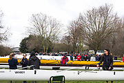 London. United Kingdom, Crews pareparing for the 2018 Women's Head of the River Race.  location Barnes Bridge, Championship Course, Putney to Mortlake. River Thames, <br />