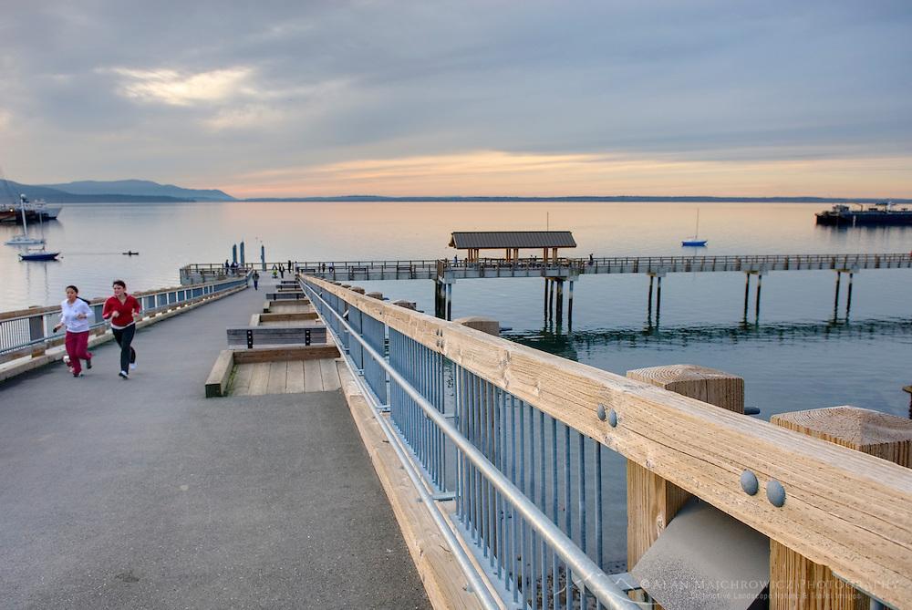 Waterfront boardwalk of Boulevard Park along Bellingham Bay, Bellingham Washington USA