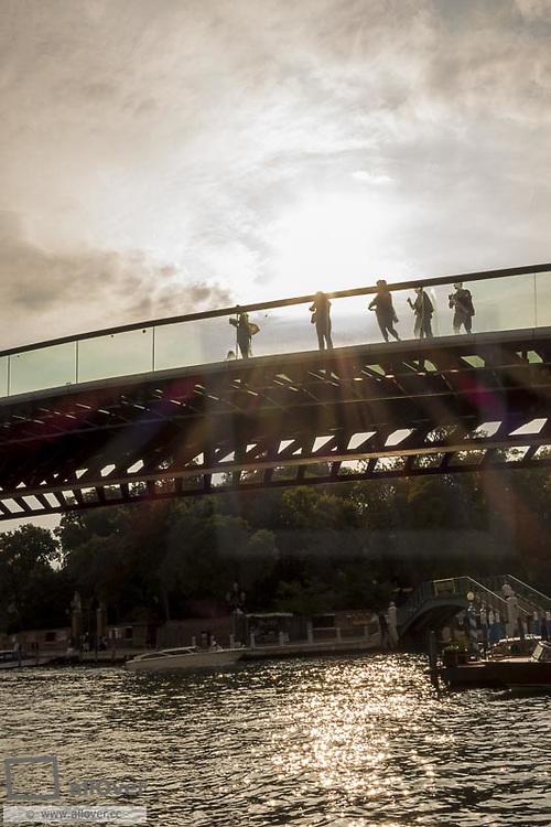 Ponte della Costituzione, Santiago Calatrava, modern brigde over Grand Canal, Venice, Venetia, Italy