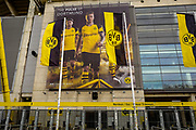A giant poster outside the Signal Iduna Park Stadium ahead of the Champions League round of 16, leg 2 of 2 match between Borussia Dortmund and Tottenham Hotspur at Signal Iduna Park, Dortmund, Germany on 5 March 2019.