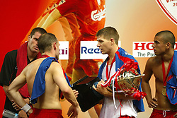 BANGKOK, THAILAND - Thailand. Thursday, July 24, 2003: Liverpool's Steven Gerrard with the GSM Advance Cup after beating Thailand 3-1 during a preseason friendly match at the Rajamangala National Stadium. (Pic by David Rawcliffe/Propaganda)
