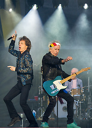 Mick Jagger, Charlie Watts and Keith Richards of the Rolling Stones perform on stage at Ricoh Arena on June 02, 2018 in Coventry, England. Picture date: Saturday 02 June, 2018. Photo credit: Katja Ogrin/ EMPICS Entertainment.