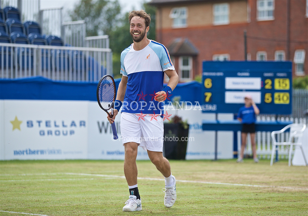 LIVERPOOL, ENGLAND - Sunday, June 23, 2019: Paulo Lorenzi (ITA) is all smiles after winning the Men's Final 7-6, 6-2 on Day Four of the Liverpool International Tennis Tournament 2019 at the Liverpool Cricket Club. (Pic by David Rawcliffe/Propaganda)