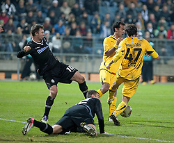 14.12.2011, UPC Arena, Graz, AUT, UEFA Europa League , Sturm Graz vs AEK Athen FC, im Bild Milan Dudic (SK Puntigamer Sturm Graz, #12) und Samir Muratovic (SK Puntigamer Sturm Graz, #10) sowie Mavroudis Bougaidis (AEK Athen FC, Defender, #47) // during UEFA Europa League football game between Sturm Graz and AEK Athens FC at UPC Arena in Graz, Austria on 14/12/2011. EXPA Pictures © 2011, PhotoCredit: EXPA/ E. Scheriau