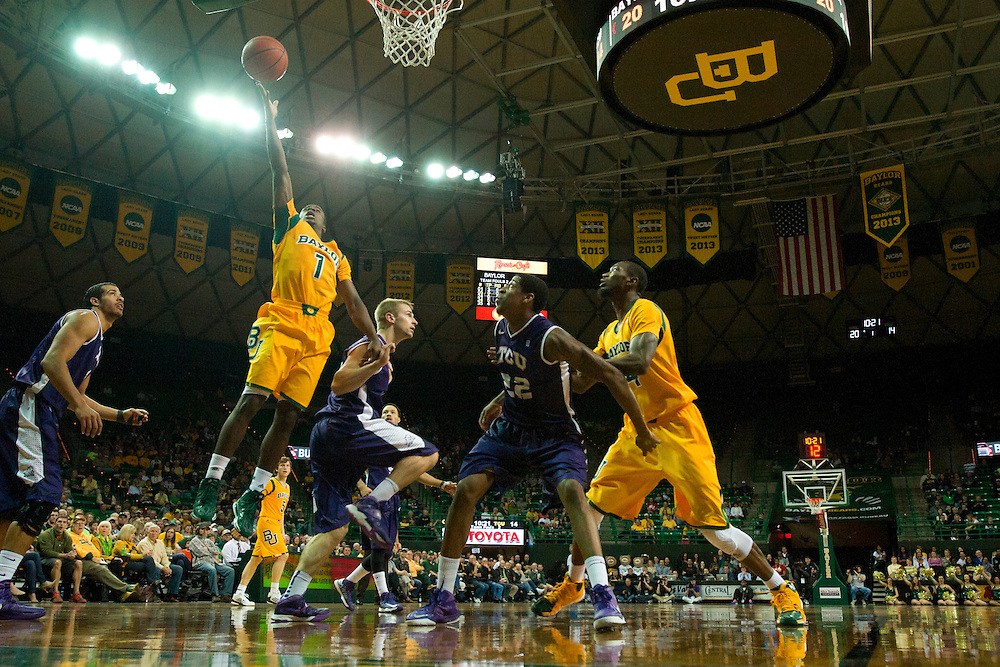 WACO, TX - JANUARY 11: Kenny Chery #1 of the Baylor Bears drives to the basket against the TCU Horned Frogs on January 11, 2014 at the Ferrell Center in Waco, Texas.  (Photo by Cooper Neill/Getty Images) *** Local Caption *** Kenny Chery