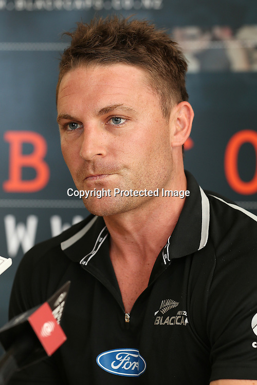 New Blackcaps captain Brendon McCullum speaking during a press conference at Bert Sutcliffe Oval, Lincoln. Saturday 8 December 2012. Photo: Martin Hunter/Photosport.co.nz