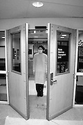 Entry to, and exit from, the Bone Marrow Transplant Unit at Thomas Jefferson Hospital involved an airlock, whose doors would open automatically only after the air had been replaced.