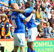 Birmingham City's David Cotterill celebrates his goal during the Sky Bet Championship match between Bournemouth and Birmingham City at the Goldsands Stadium, Bournemouth, England on 6 April 2015. Photo by Mark Davies.