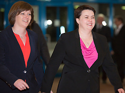 Scottish Parliament Election 2016 Royal Highland Centre Ingliston Edinburgh 05 May 2016; Ruth Davidson (Scottish Conservative leader) arrives with her partner Jen Wilson during the Scottish Parliament Election 2016, Royal Highland Centre, Ingliston Edinburgh.<br /> <br /> (c) Chris McCluskie | Edinburgh Elite media
