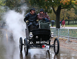 Dawn in Hyde Park, London as a 1902 Toledo sets off at the start of the London to Brighton Veteran Car Run Sunday  4th November 2012.   Photo by: Stephen Lock / i-Images