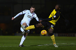 Marvin Sordell of Burton Albion accidentally injures Paul Coutts of Sheffield United during an attempt to defend Paul Coutts of Sheffield United's shot at goal - Mandatory by-line: Ryan Crockett/JMP - 17/11/2017 - FOOTBALL - Pirelli Stadium - Burton upon Trent, England - Burton Albion v Sheffield United - Sky Bet Championship