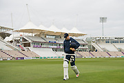 Dawid Malan of Middlesex heads off for a practice net ahead of the Specsavers County Champ Div 1 match between Hampshire County Cricket Club and Middlesex County Cricket Club at the Ageas Bowl, Southampton, United Kingdom on 14 April 2017. Photo by David Vokes.
