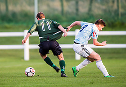 Edinburgh University&rsquo;s Ross Patterson and Gala Fairydean Rovers David Bonnar. <br /> Edinburgh University 2 v 3 Gala Fairydean Rovers, Scottish Sun Lowland League game played 15/11/2014 at Peffermill Playing Fields.
