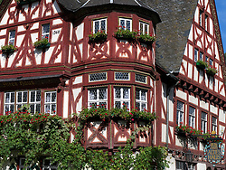 Altes Haus of Old House historic half-timbered guest house in Bacharach in Rhineland beside River Rhine Germany