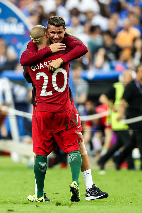 Cristiano Ronaldo, the captain of the portuguese national squad, and Ricardo Quaresma celebrating the winning of the European Championship held in France. In the final match Portugal beat France by 1-0 on extra-time with a goal scored by Ederzito.