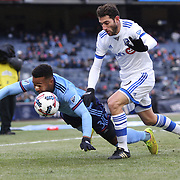 NEW YORK, NEW YORK - March 18: Ethan White #3 of New York City FC is fouled by Ignacio Piatti #10 of Montreal Impact during the New York City FC Vs Montreal Impact regular season MLS game at Yankee Stadium on March 18, 2017 in New York City. (Photo by Tim Clayton/Corbis via Getty Images)
