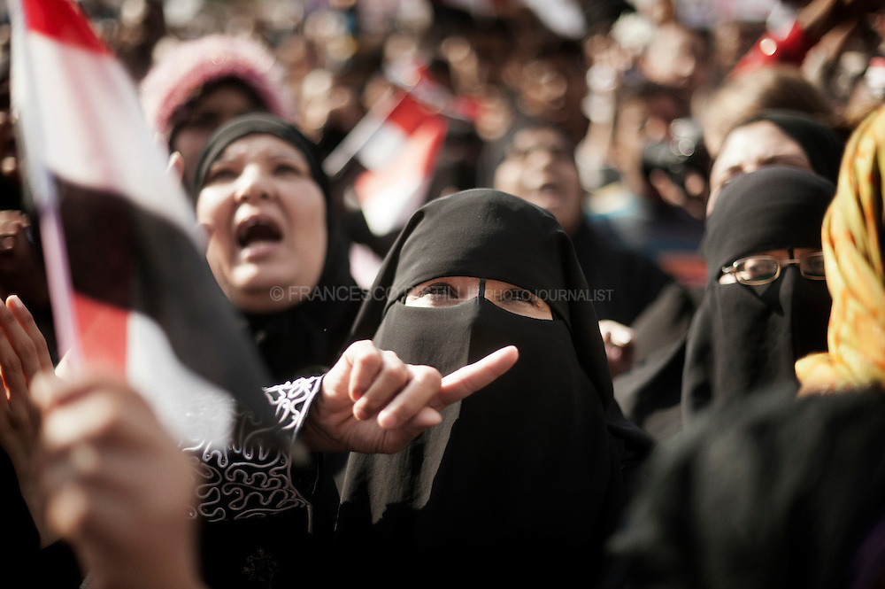 Dicember 2. Egypt 2011. Cairo. Women protesting in Tahrir after the Friday prayer.