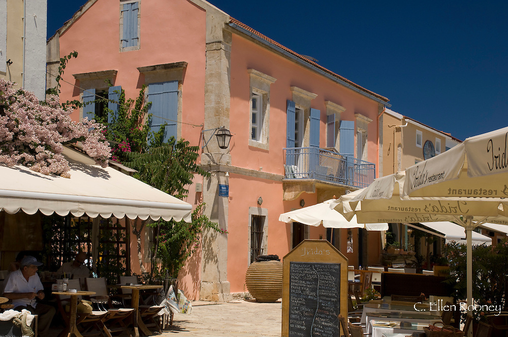 Waterfront cafes in Fiskardo, Kefalonia, The Ionian Islands, Greece
