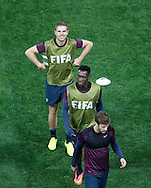 Jordan Henderson (top) with Danny Welbeck (C) and Adam Lallana (bottom) during the England training session at Arena Corinthians, Sao Paulo, Brazil, on the eve of their World Cup 2014 Group D match against Uruguay.<br /> Picture by Andrew Tobin/Focus Images Ltd +44 7710 761829<br /> 18/06/2014