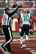 Jacksonville Jaguars wide receiver Jaelen Strong (10) catches a second quarter touchdown pass that ties the score at 16-16 during the 2017 NFL week 16 regular season football game against the San Francisco 49ers, Sunday, Dec. 24, 2017 in Santa Clara, Calif. The 49ers won the game 44-33. (©Paul Anthony Spinelli)