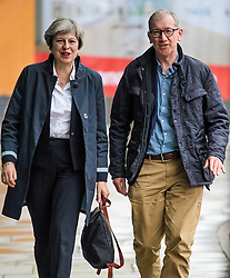 © Licensed to London News Pictures. 30/09/2017. Manchester, UK. British prime minister THERESA MAY arrives at the Midland Hotel in Manchester ahead of the Conservative Party Conference which starts on Sunday at Manchester Central. There have been conflicts within the conservative party and government over the UK's approach to Brexit, which is expected to feature heavily at this years event. Photo credit: Ben Cawthra/LNP