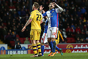 Danny Graham of Blackburn Rovers reacts to his shot just going wide of the post during the Sky Bet Championship match between Blackburn Rovers and Fulham at Ewood Park, Blackburn, England on 16 February 2016. Photo by Simon Brady.