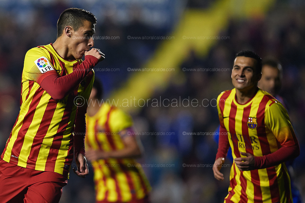 VALENCIA, SPAIN - JANUARY 2: Tello of FC Barcelona celebrates after scoring during the SM Copa del Rey between Levante UD and FC Barcelona de at the Ciutat de Valencia stadium January 22, 2014 in Valencia, Spain. (Photo by Aitor Alcalde).