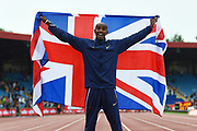 Mo Farah of Great Britain celebrates after winning his last track race in the UK during the Muller Grand Prix Birmingham 2017 at the Alexander Stadium, Birmingham, United Kingdom on 20 August 2017. Photo by Martin Cole.
