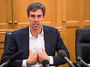 22 AUGUST 2019 - DES MOINES, IOWA: BETO O'ROURKE (D-TX), talks about the soft tissue damage modern high velocity ammunition causes during a gun safety roundtable he hosted in the Iowa State Capitol in Des Moines. He is back on the campaign trail seeking the Democratic nomination for the US Presidency after pausing his campaign when a white supremacist massacred 22 people in El Paso, TX, O'Rourke's hometown. Iowa traditionally hosts the first selection event of the presidential election cycle. The Iowa Caucuses are Feb. 3, 2020.       PHOTO BY JACK KURTZ
