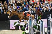 Simon Delestre on Gain Line during the Equestrian FEI World Cup Jumping Lyon 2017, CSI5 Longines Grand Prix on November 4, 2017 at Eurexpo Lyon in Chassieu, near Lyon, France - Photo Romain Biard / Isports / ProSportsImages / DPPI