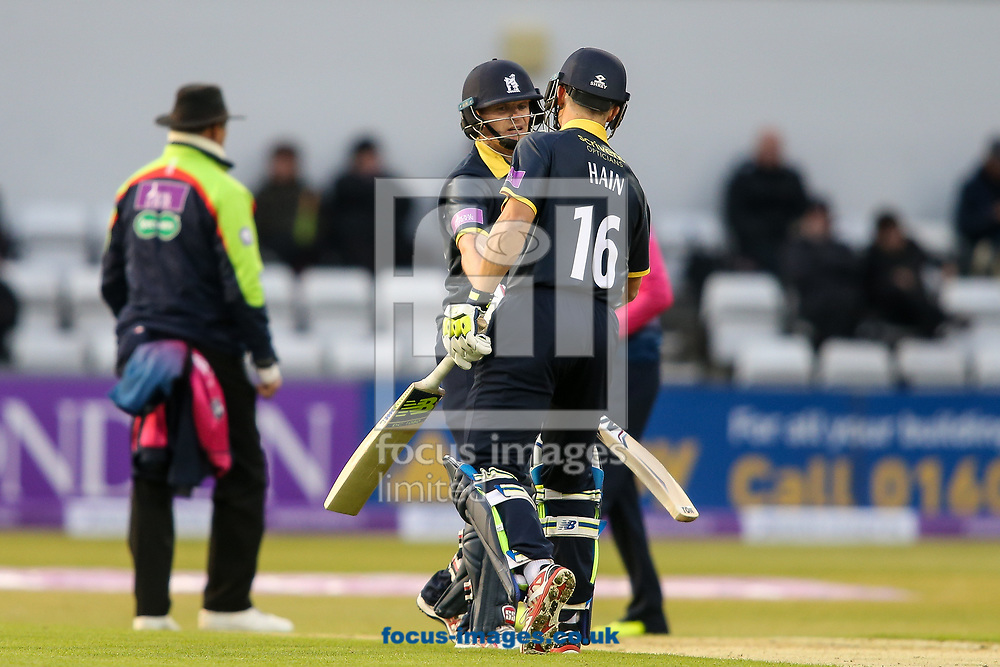 William Porterfield of Warwickshire CCC (left) and Sam Hain of Warwickshire CCC (right) during the Royal London One Day Cup match at the County Ground, Northampton<br /> <br /> Picture by Andy Kearns/Focus Images Ltd 0781 864 4264<br /> 27/04/2017