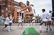 UNITED KINGDOM, London: 12 August 2015 Members of a Australian drag circus hold a photocall outside of the Oval Cricket ground. The performers are holding the event as a challenge to their compatriots after Australia lose the Ashes to England in London, England. Andrew Cowie / Story Picture Agency
