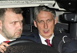 © Licensed to London News Pictures. 06/02/2019. London, UK. Chancellor PHILIP HAMMOND is seen leaving  Battersea Park in London after the annual Black and White Ball, a fundraiser held by the Conservative Party. Photo credit: Ben Cawthra/LNP