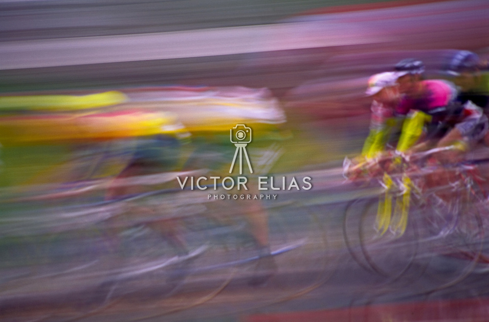 Group of cyclists speeding to the finish line. Tour du Monde. Montreal, Quebec. Canada.