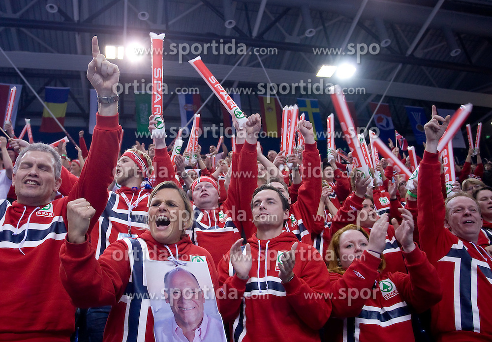 Fans of Norway during 21st Men's World Handball Championship preliminary Group D match between Norway and Egypt, on January 19, 2009, in Arena Zatika, Porec, Croatia. Win of Norway 30:20.(Photo by Vid Ponikvar / Sportida)