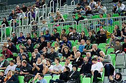 Spectators in Arena Stozice during basketball match between KK Union Olimpija and Igokea in First round of NLB league in Arena Stozice on October 9, 2010 in SRC Stozice, Ljubljana, Slovenia. Union Olimpija defeated Igokea 61-54. (Photo by Vid Ponikvar / Sportida)