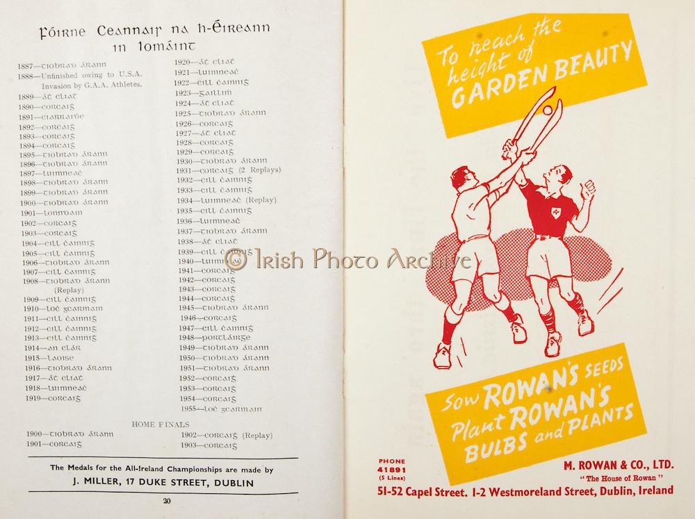 All Ireland Senior Hurling Championship Final, .Brochures, .23.09.1956, 09.23.1956, 23rd September 1956,.Wexford 2-14, Cork 2-8,.Minor Kilkenny v Tipperary, .Senior Cork v Wexford,.Croke Park,..Articles, Foirne Ceannair Na hEireann in Lomaint,..Advertisements, Rowan's Seeds M Rowan & Co Ltd,