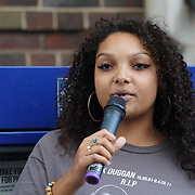 Tottenham Police Station, London, UK. 4th August 2017. Temi Mwale is studying law speak for Justice for Mark Duggan protest march for the 6th Anniversary Vigil.