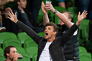 MELBOURNE, VIC - NOVEMBER 09: City fans celebrate as they win the match at the Hyundai A-League Round 4 soccer match between Melbourne City FC and Wellington Phoenix on November 09, 2018 at AAMI Park in Melbourne, Australia. (Photo by Speed Media/Icon Sportswire)