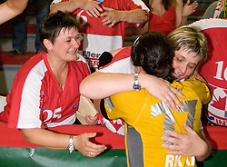 Andrea Lekic and fans Krimovci celebrate at the Final handball game of the Slovenian Women handball Championship between RK Krim Mercator and RK Olimpija when Krim Mercator won the Championship and became Slovenian National Champion, on May 23, 2009, Kodeljevo, Ljubljana, Slovenia.  (Photo by Klemen Kek / Sportida)